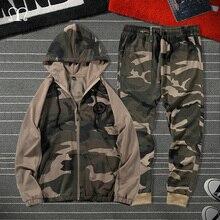 Zipper Tracksuits Men Spring Autumn Camouflage Sweatshirt Jacket Sporting Gyms Outwear + Pants Casual Men's Sweatsuit Sportswear