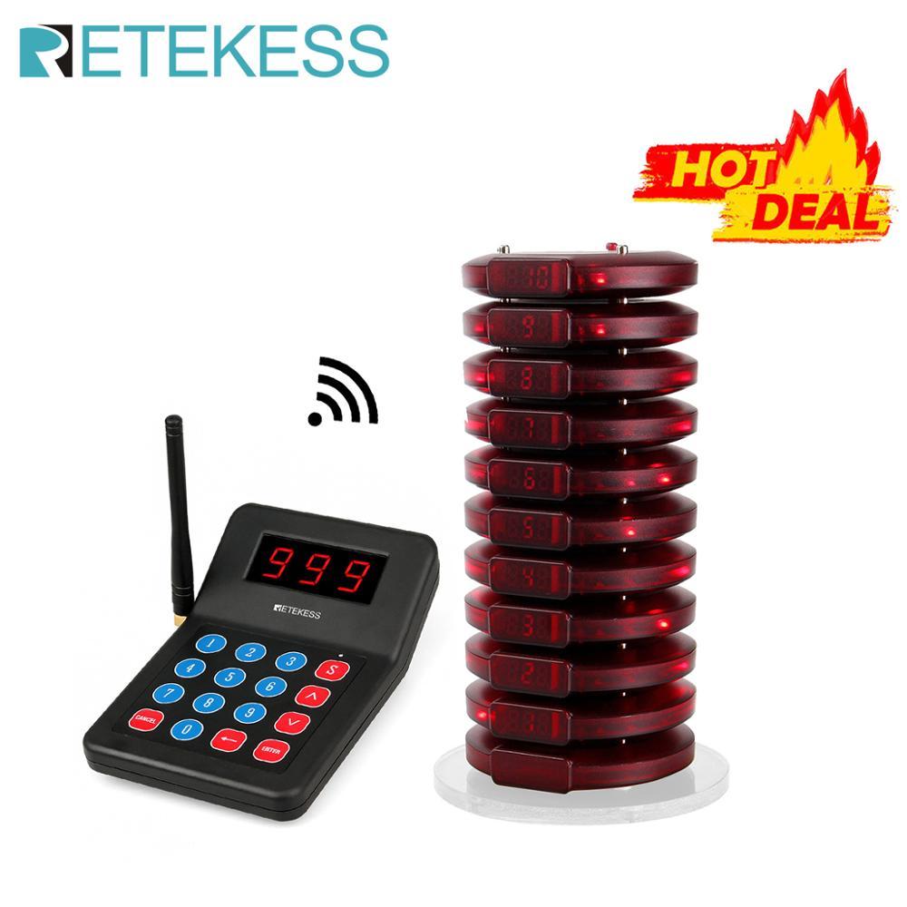 Retekess T119 999 채널 레스토랑 호출기 무선 호출 대기열 시스템 10 코스터 호출기 고객 서비스 커피 용 식품 호출기