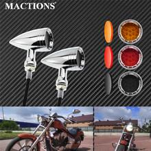 Motocykl 10mm Vintage LED Turn Signal Bullet migacz pomarańczowy wskaźnik światła Chrome aluminium dla Harley dla Yamaha dla Honda tanie tanio MACTIONS Światło migacza CN (pochodzenie) 2PCS light+3pcs lens