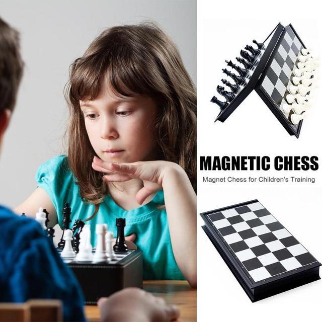 Jeu de dames de Backgammon magnétique d'échecs jeu de société pliable jeu d'échecs pliant International jeu de société Portable d'échecs 4