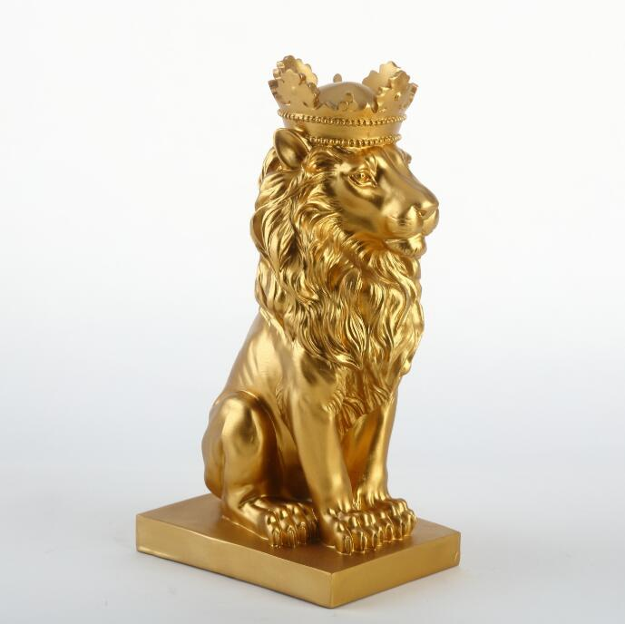 New Creative Modern Golden Crown Black Lion Statue Animal Figurine Sculpture For Home Decorations Attic Ornaments Gifts