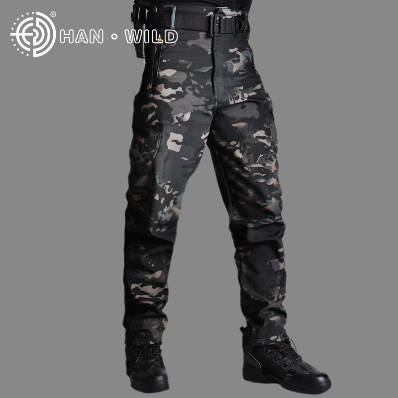 HAN WILD Military Pants Tactical Camouflage Men Rip-stop Thick Fleece Combat Trousers Militar Work Army Outfit Hunting Pants