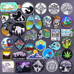Mountain Patch Iron on Embroidered for Clothing Outdoor Nature Patches for Jacket Clothes DIY Applique Badges T-shirt