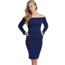 New Sexy Word Collar Off-Shoulder Women Dress Long-Sleeved Slim Thin Bag Hip Vestidos