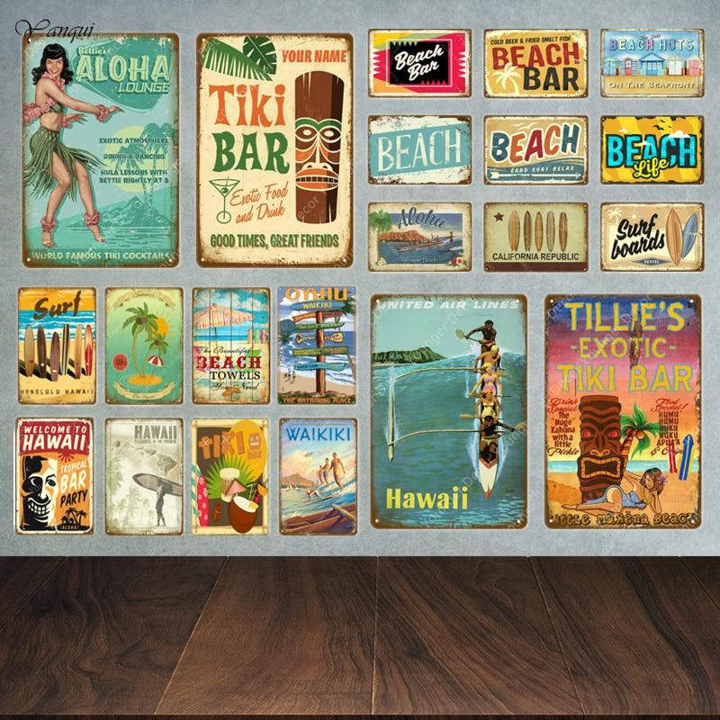 Aloha Beach Tin Signs Vintage Summer Metal Wall Plaque Hawaii Tiki Bar Decor House Seaside Decorative Plate Surf Carft YA040(China)