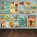 Aloha пляжные оловянные знаки, Винтажная летняя металлическая настенная доска, Гавайские Тики, декор для бара, дом, Приморская декоративная та...