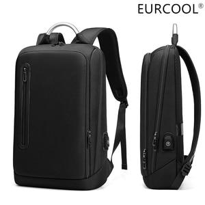 EURCOOL, деловой стиль, модный тонкий рюкзак для ноутбука для мужчин 13 14 15,6 дюйма офисные мужской рюкзак унисекс черный тонкий рюкзак светильни...