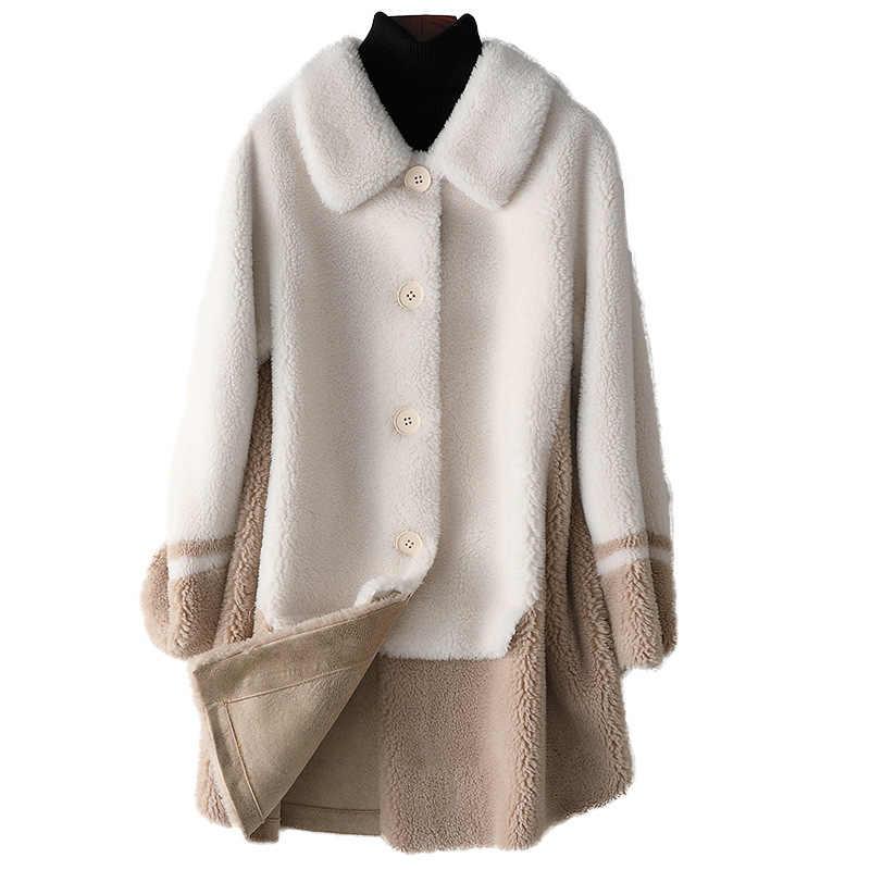 Outono pele de ovelha shearing comprimento médio casaco nova moda longa lã casaco feminino inverno retalhos de pele lã misturas casuais jaquetas