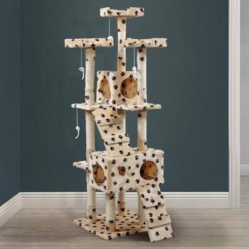 Cat Tree House Multi-Level With Hanging Ball Animal Funny Sisal-Covered Scratching Posts Protecting Furniture Pet House PT0183