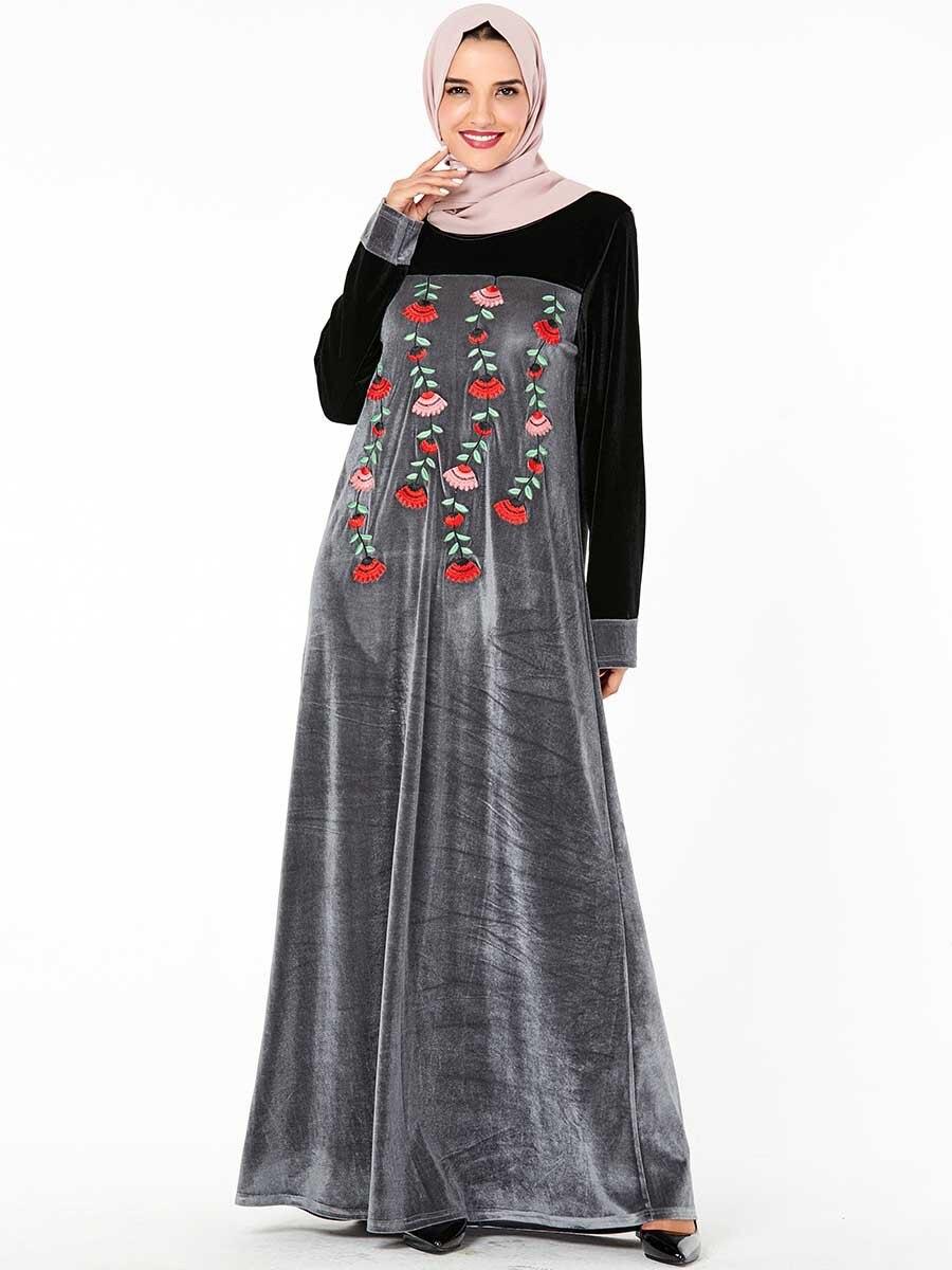 Plus Size Islamic Women Velvet Dress Abaya Embroidery Kaftan Muslim Robe Jilbab