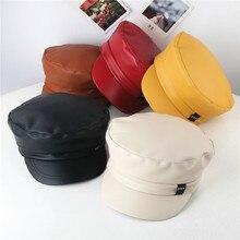 Nueva gorra para niños de Color puro techo plano otoño Lmitation cuero salvaje boina Peaked gorras sombreros sombrero mujer # pingyou