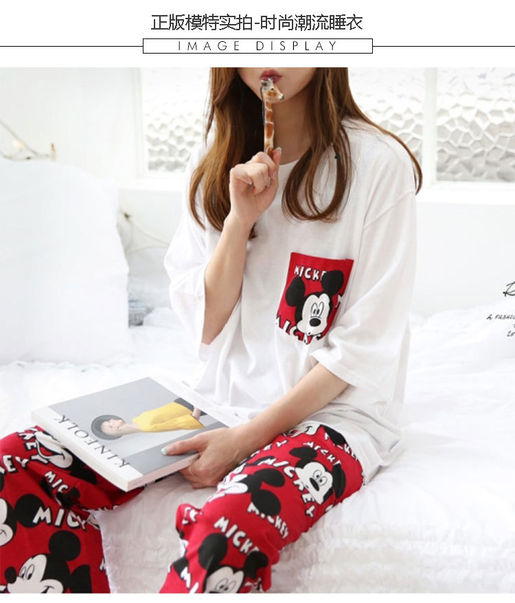 2019 Fashion Lovely Leisure Two Piece Set Mickey Printing Indoor Clothing Home Suit Sleepwear Winter Pajamas Woman Pijama Mujer 43