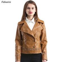 Leather Jacket Women Plus Size Embroidery Brown Faux Leather Jacket Motorcycle Slim V Neck Windbreaker Autumn 2019 Woman Jacket цена 2017