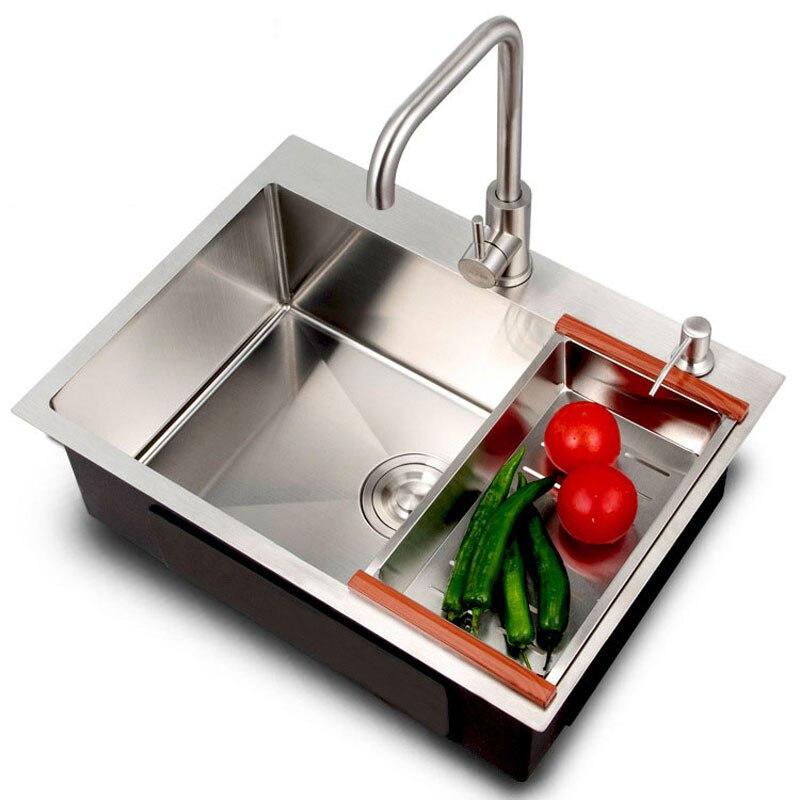 Manual pia de aço inoxidável 304 mão bacia espessamento lavar louça pia da cozinha legumes pia único slot