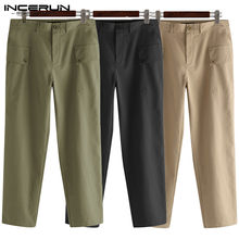 INCERUN Men Cargo Pants Joggers Pockets Button Streetwear Solid Color Casual Long Trousers Loose Pantalones Hombre Plus Size 5XL(China)