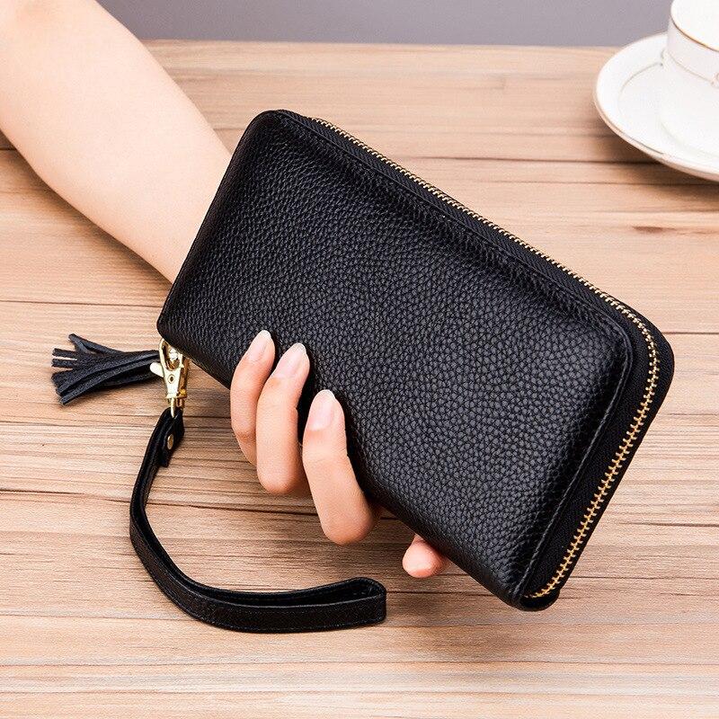 Portefeuille classique en cuir véritable pour femmes, pochette porte-carte, portefeuille élégant avec glands, sac de poignet, sac à main Long à fermeture éclair