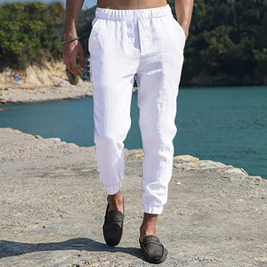 Men Wide Leg Pants Solid Loose Streetwear Belt Cotton Joggers Long Pants Harajuku Vintage Casual Trouser Ankle-Length Pants