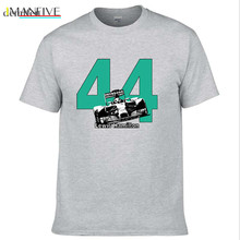 цены Lewis Hamilton 44 F1 Race Car T-Shirt World Champion Formula 1 Brit Silverstone Men Cotton T Shirt Top Tees