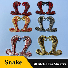 2pcs 3D Metal Cobra logo car emblem Side Fender Rear Trunk Snake sticker Badge Decals For Ford Mustang Shelby GT Car Accessories qhcp car styling abs letter sticker rear trunk decklid badge emblem stickers decoration fit for ford mustang 2015 2016 2017 2018