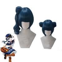 Love Live! Sunshine! Aqours Tsushima Yoshiko Cosplay Costume Party Hair Cosplay wig Blue curving Ponytail