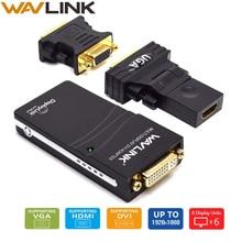 Wavlink usb 2.0 vga/dvi/hdmi 비디오 그래픽 어댑터 다중 모니터 디스플레이 1920*1080 확장/미러 모드 지원 windows