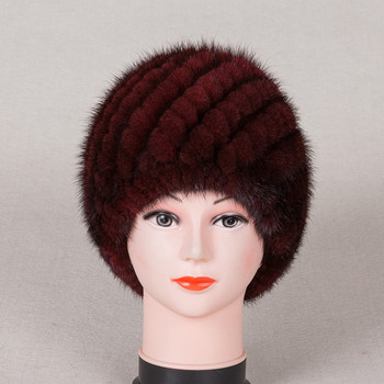 New Knitted genuine natural mink fur hat cap headgear headdress women warmer image