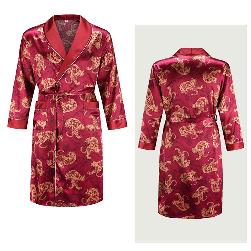Plus Size Home Wear Silk Nightgown Men's Bathrobe Tiger Nightgown Loose Wedding Robesilky Long Sleeve Sleeprobe Bathrobe Men