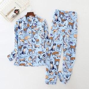 Image 1 - home suit Cotton Women Pajama Sets Cute Cartoon Dog Pyjamas Women Couples Sleepwear Casual Soft Female Suit Pijama Mujer