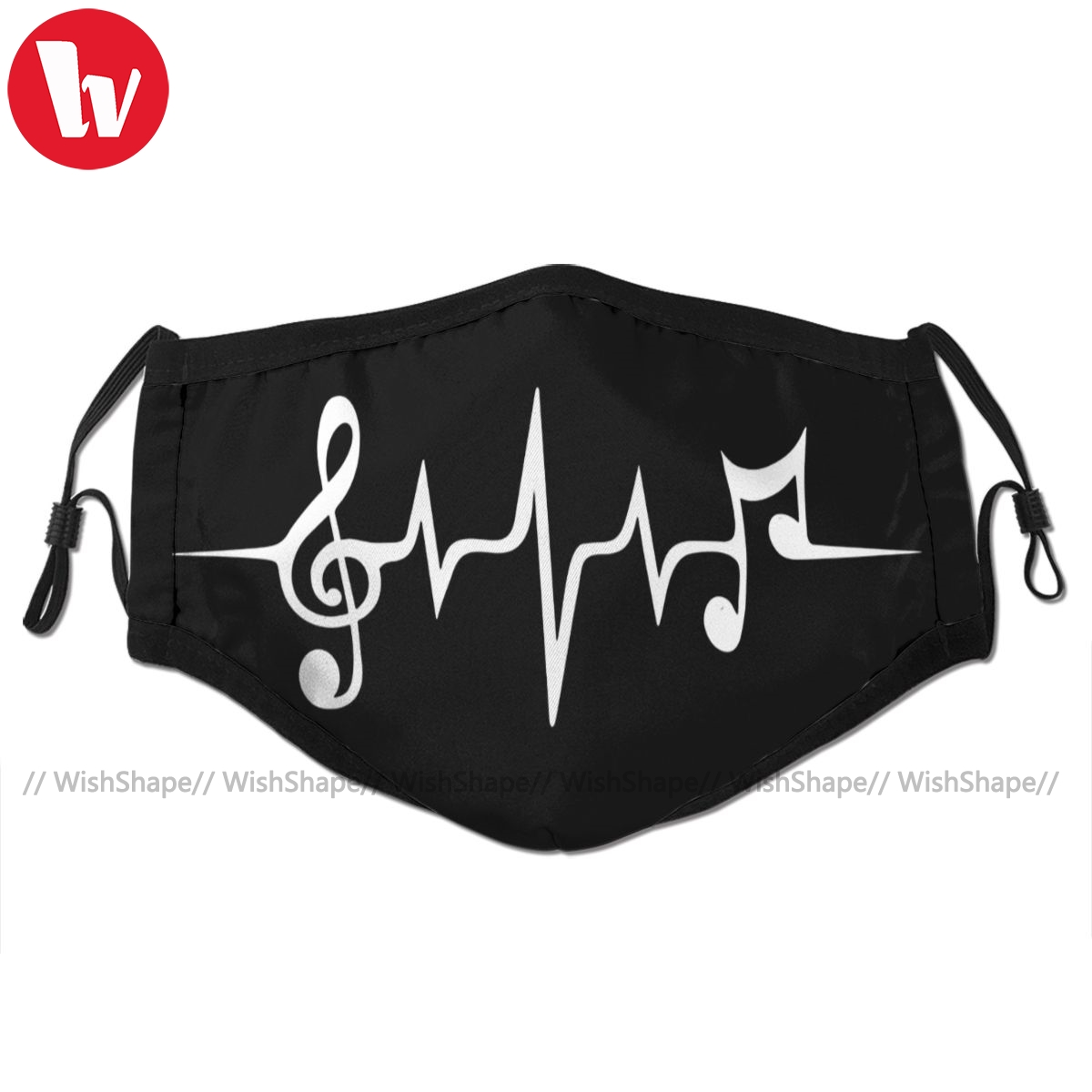 Trance Music Mouth Face Mask Music Pulse Notes Clef Frequency Facial Mask Fashion Funny With 2 Filters For Adult
