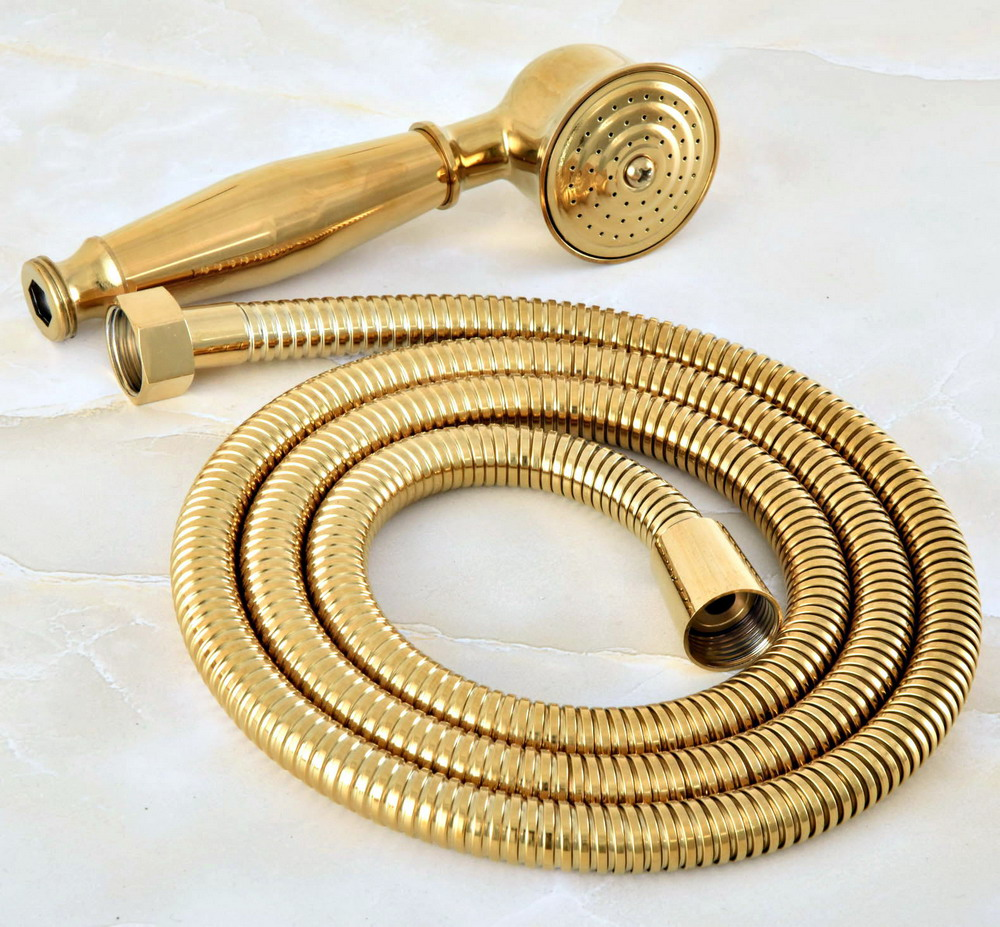 1.5m Gold Color Brass Flexible Bathroom Hand Held Shower Hose And Telephone Style Hand Held Shower Head Mhh043