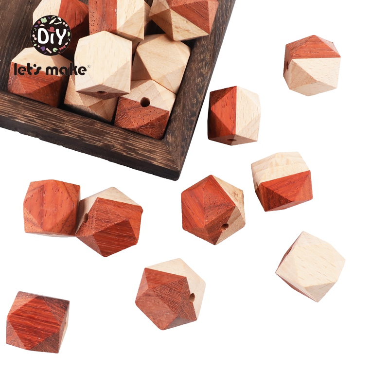 Let's Make Wooden Teether Beads Octagonal Beads 10pcs Set 20mm Maple DIY Pacifier Chain Accessories Baby Items Childen's Goods