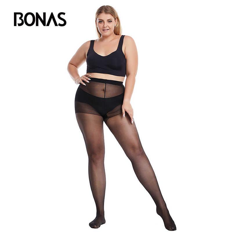 Bonas 20Dタイツプラスサイズタイツストッキング弾性スパンデックスにくい女性のストッキングcollantファム黒タイツセクシーなトップ 3X