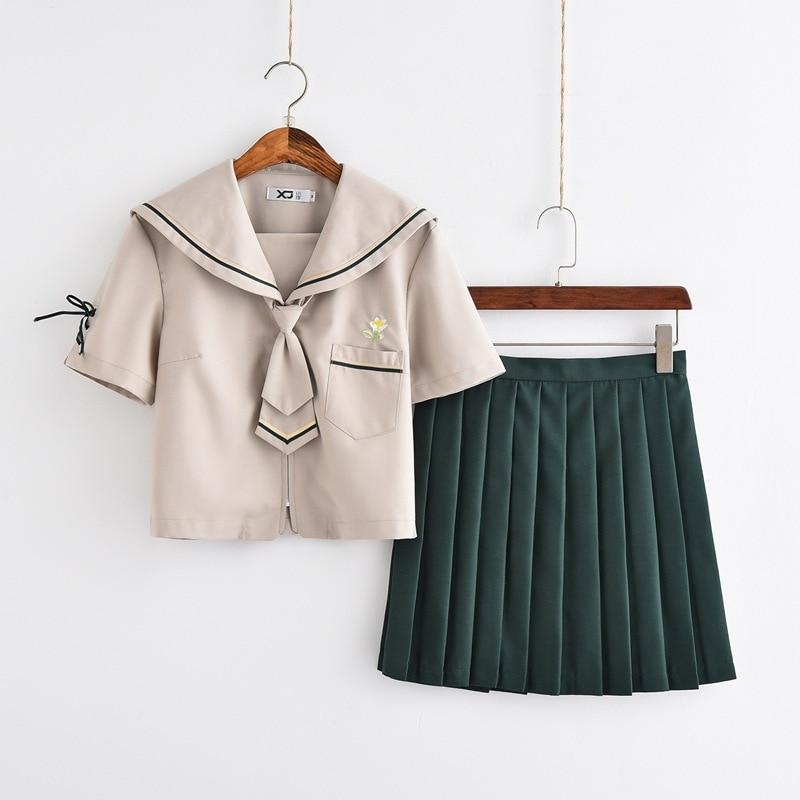 Japanese School Dress Lolita Summer Gray JK Uniform Japanese School Uniforms Top Skirt Tie Girls Anime Cosplay Sailor Suits