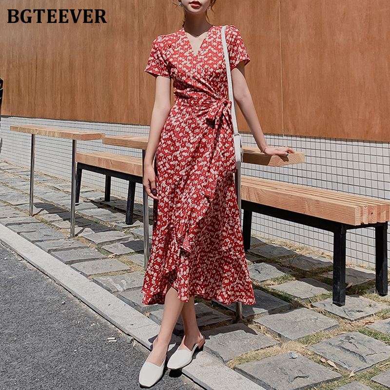 BGTEEVER Fashion Red V-neck Print Women Dress Short Sleeve A-line Female Chiffon Dress Slim Waist Lace-up Vestidos Femme 2020