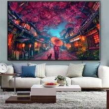 Аниме окружающий мультфильм вишневый цвет украшение картина