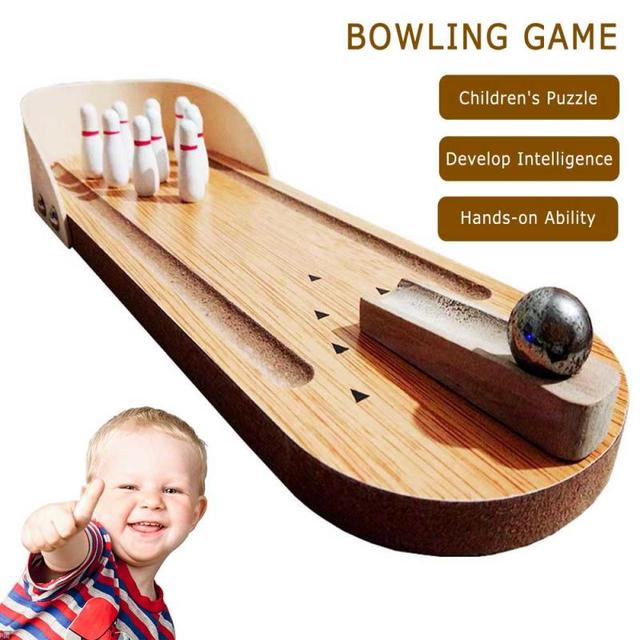 Bowling Game Toy New Wooden Mini Desktop Bowling Game Toy Set Fun Indoor Parent-Child Interactive Table Game House Sport Game