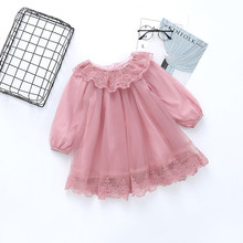 girls clothing spring autumn new fashion clothes 2-7 year floral lace mesh kid children princess dress 40