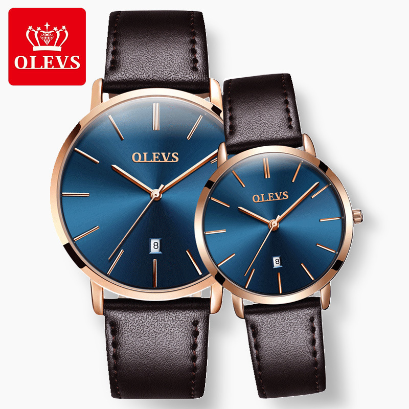 OLEVS Japan Quartz Simple Women Fashion Watch Minimalism Waterproof High Quality Leather Belt Starry Sky Couple Watch Relogio