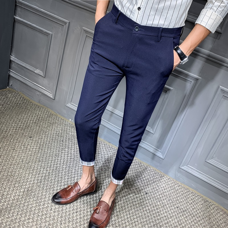 Suit Pant Trousers Men Slim-Fit Navy-Blue Black Ankle-Length Business Casual Male Cotton