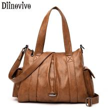 DIINOVIVO Ruched Women Tote Bag PU Leather Handbags Ladies Casual Shoulder Messenger Strap Crossbody Bags Female WHDV1290