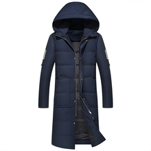 Men #8217 s down jacket high quality Men Winter Jacket Hooded Duck Down Jacket Male Windproof Warm Parka 2019 Men Long Coats cheap JUNGLE ZONE Thick (Winter) JUNGLE ZONE 1712 REGULAR Casual Single Breasted Full Solid Oxford NONE Pockets Zippers Embroidery
