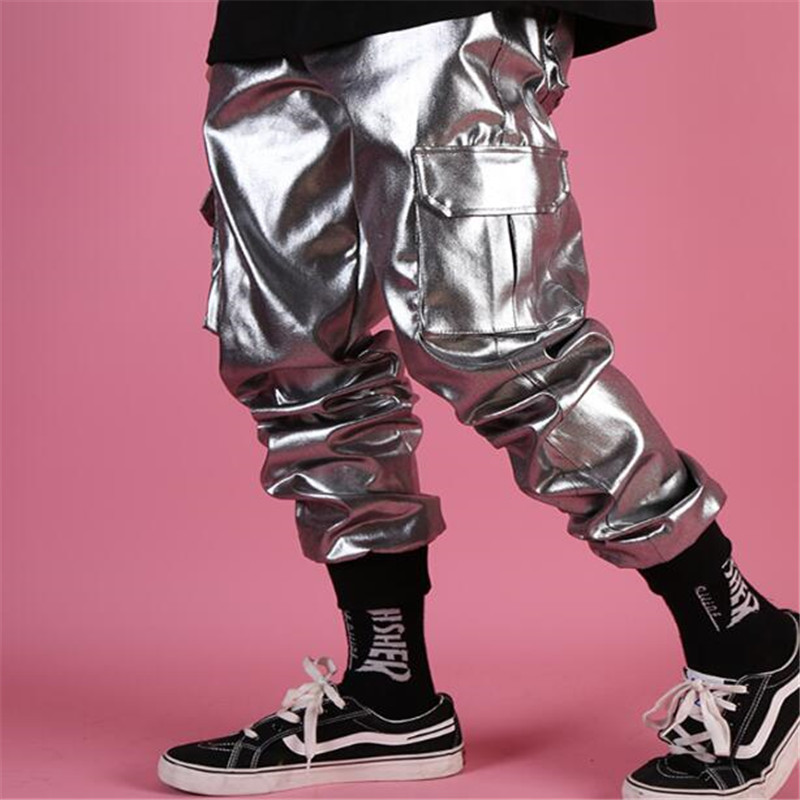 NEW Men Casual Leather Harem Pant Male Streetwear Hip Hop Punk Silver Multi Pocket Cargo Trouser Stage Clothes DJ Singer Pant