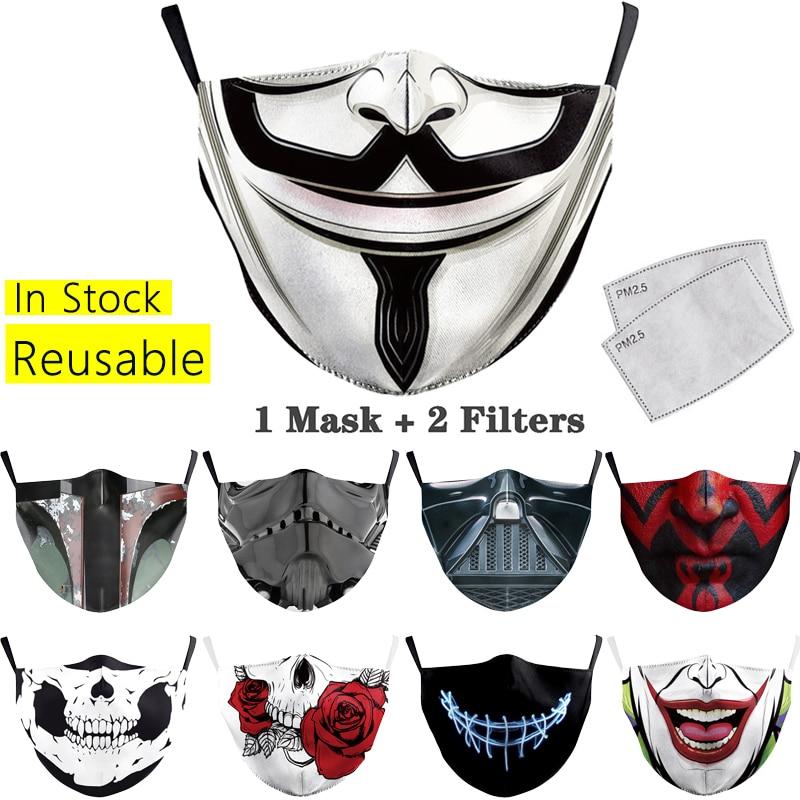 Masques imprimés pour adultes, en tissu lavable et réutilisable, filtres PM2.5, protection faciale respirante, anti-poussière