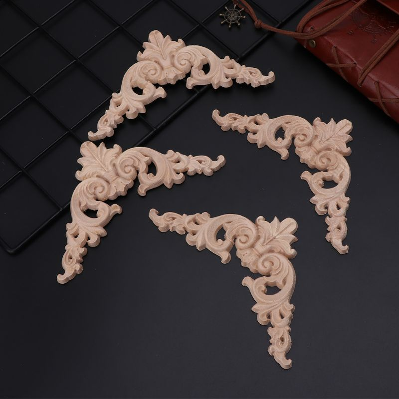 4pcs/set Wood Carved Corner Onlay Applique Unpainted Frame Cupboard Cabinet Decal For Home Furniture Decoration Optional Size