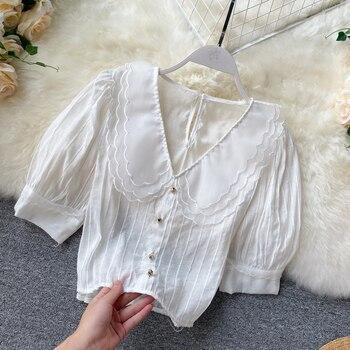 summer women short sleeve chiffon blouse white peter pan collar buttons tops design puff shirts for