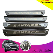 For Hyundai SantaFe Car Styling 2018 2019 Accessories Stainless Steel Door Sill Cover Scuff Plate Guard Protector Auto Sticker for car sticker hyundai santafe 2019 accessories stlyling staninless steel door sill protector welcome pedal scuff plate trim