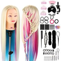 Hairstyle 26Inch Hair Mannequin Head for Hairstyles Colorful Hair Hairdressing Training Head Braiding Head Female + Clamp