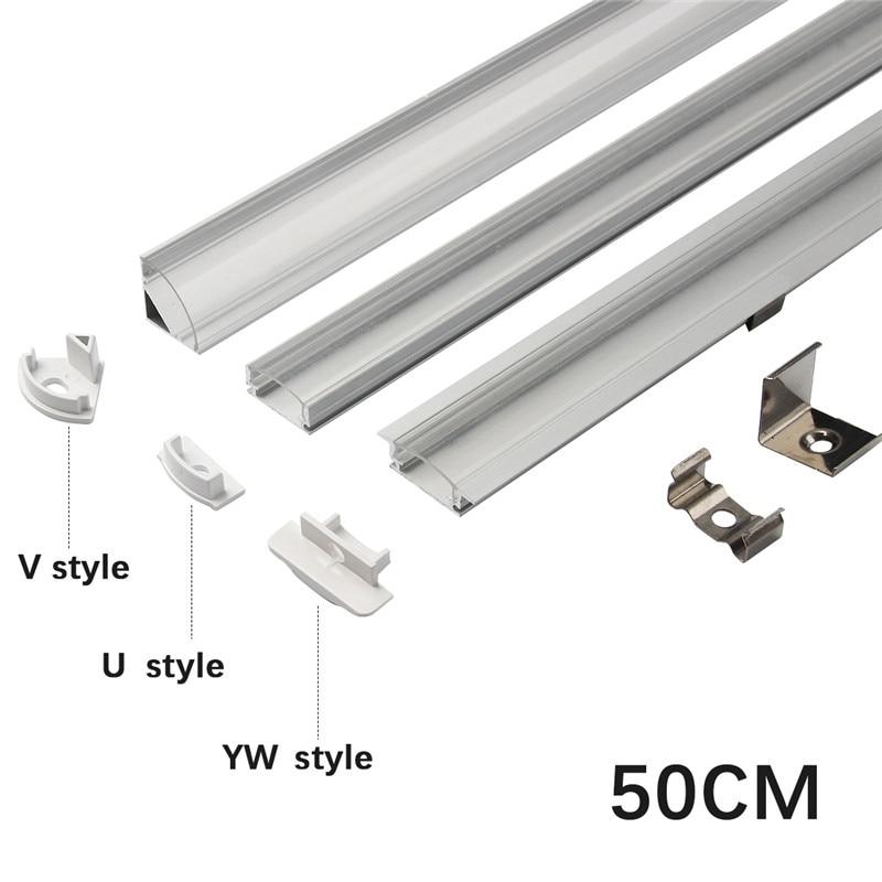 1set 50cm LED Bar Lights Aluminium Profile Transparent Cover U/V/YW Style Shaped For LED Strip Light Parts
