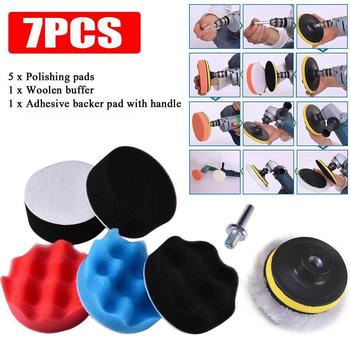 7Pcs 8cm Auto Car Polishing Wheel Buffing Pad Kit Drill Adapter Scratch Remover image