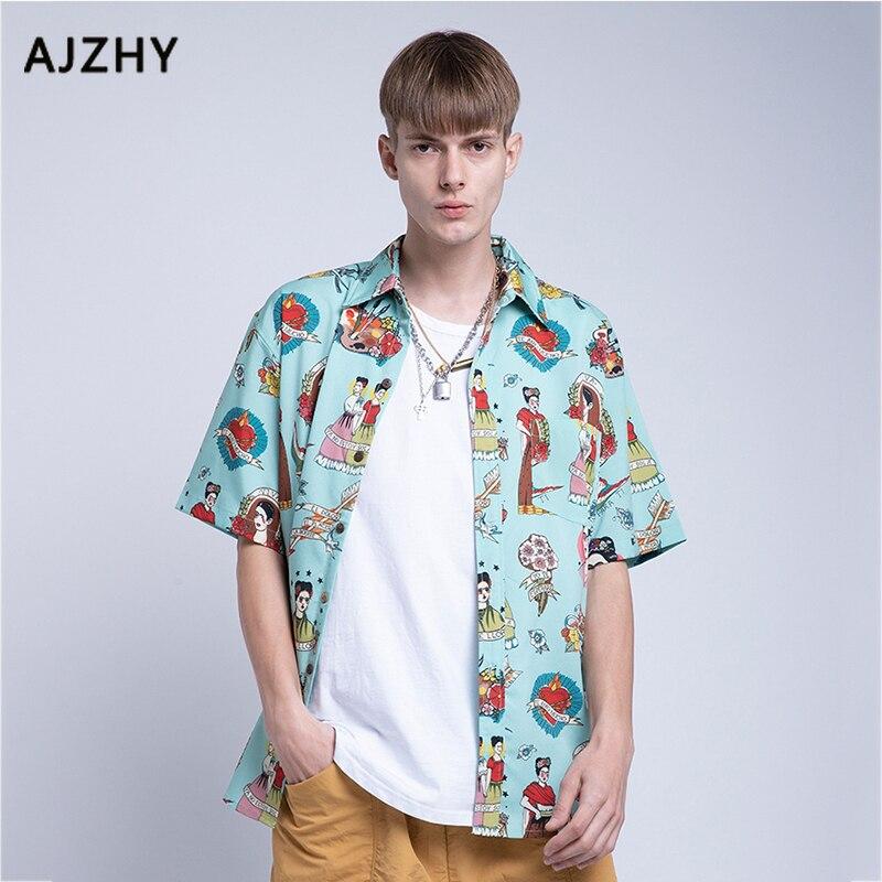 Harajuku Japanese Ukiyo E Anime Shirt Men Loose Hip Hop Hawaiian Shirts Women Casual Streetwear Summer Short Sleeve Printing Top